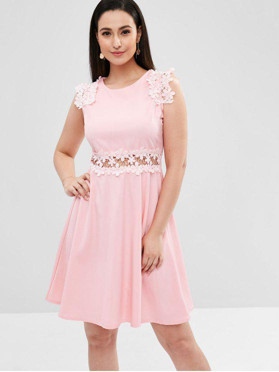 outfit Floral Appliques Faux Pearl A Line Dress - PINK S