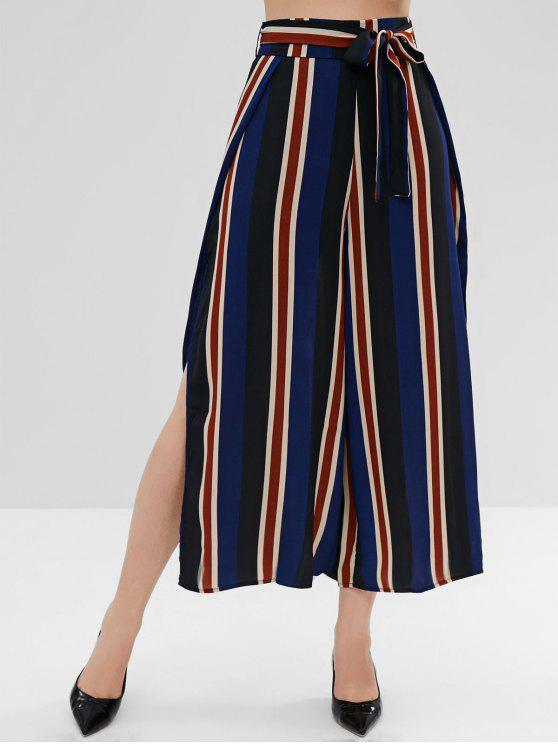 chic High Slit Striped Belted Pants - DEEP BLUE M