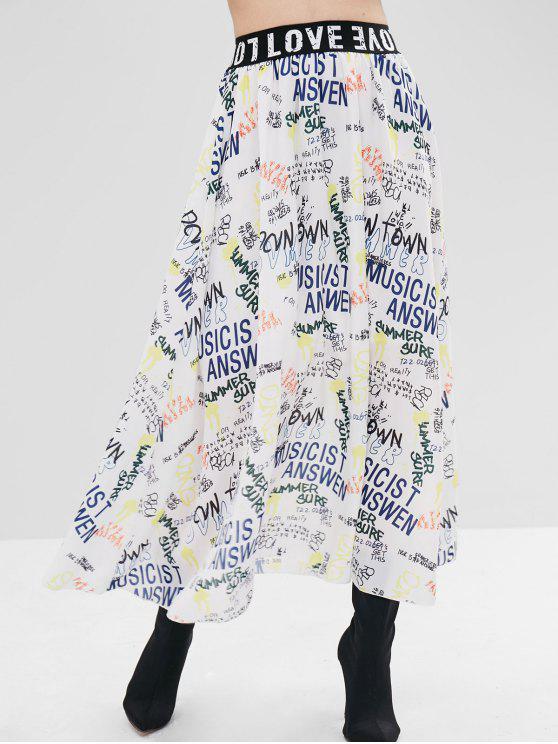 women Full Printed Midi Skirt - WHITE M