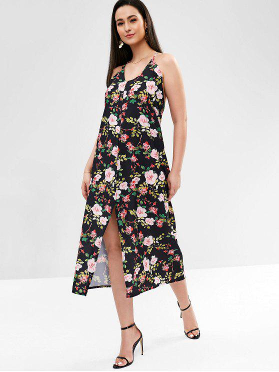 women's Slit Floral Midi Dress - BLACK S