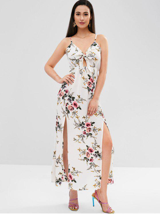 Spaghetti Strap Floral Maxi Dress - Branco M