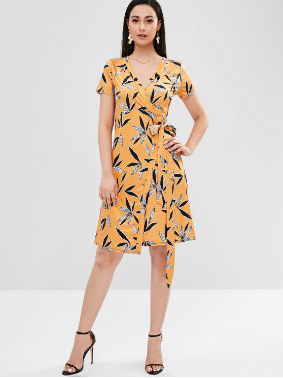shops V Neck Leaves Print Wrap Dress - BEE YELLOW S