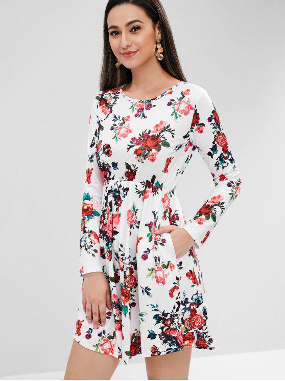 الأزهار طباعة فستان طويل الأكمام - أبيض S