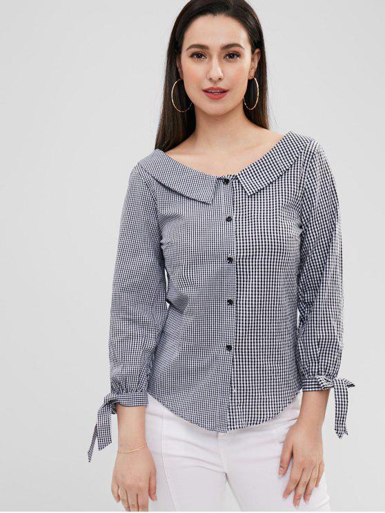 latest Foldover Collar Gingham Shirt - MULTI S
