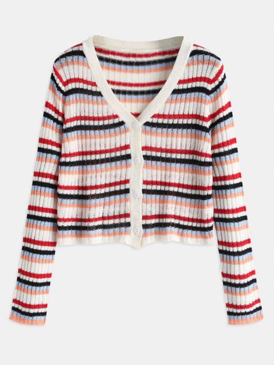 women Button Up Striped Crop Cardigan - MULTI ONE SIZE
