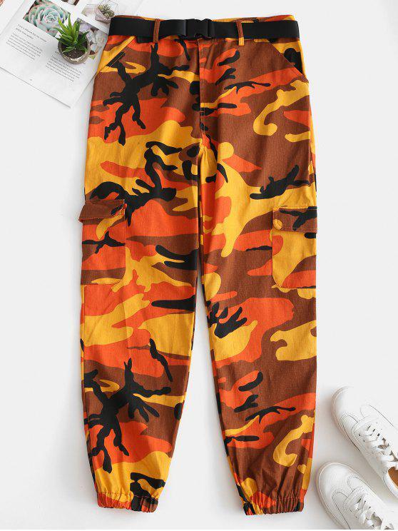 new Camo Pocket Belted Jogger Pants - ORANGE M