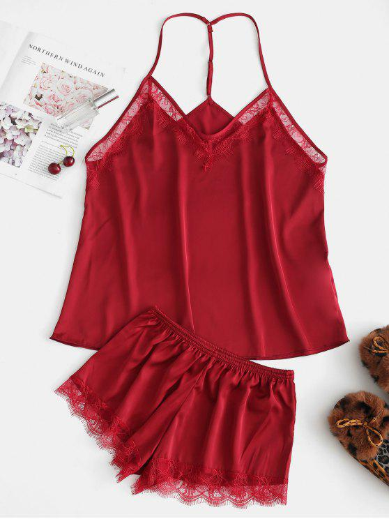 trendy T Back Satin Cami Top and Shorts Pajama Set - RED ONE SIZE