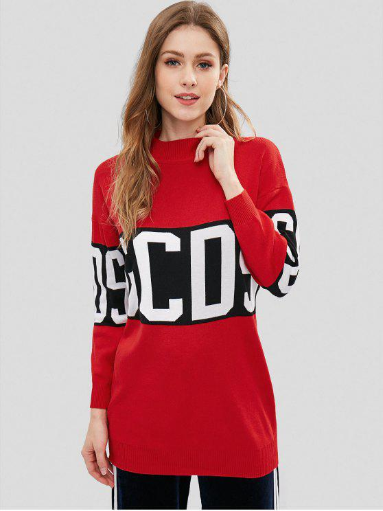 63459fb5dcb 36% OFF] 2019 Gcds Graphic Tunic Sweater In RED S   ZAFUL