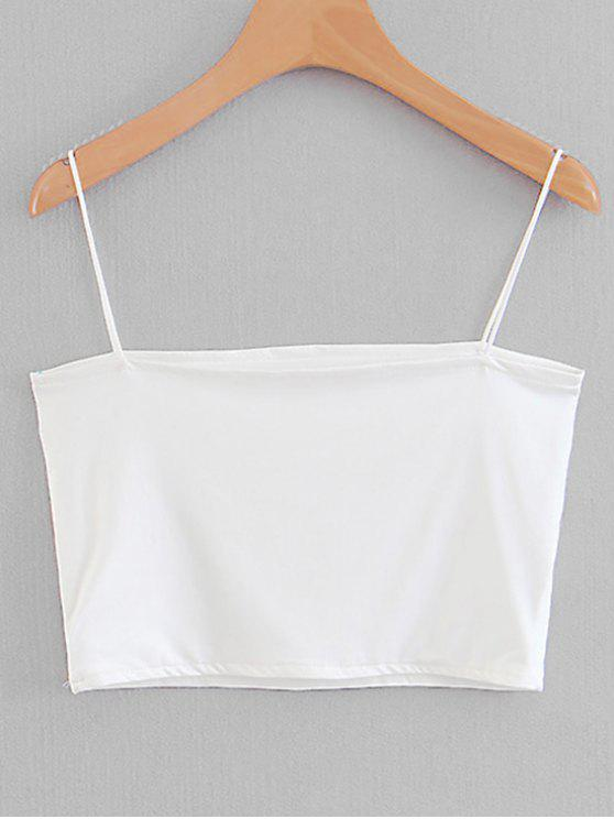 trendy Spaghetti Strap Cropped Top - WHITE M