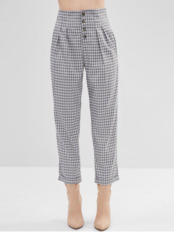 Pantalon fuselé boutonné à carreaux - Gris M