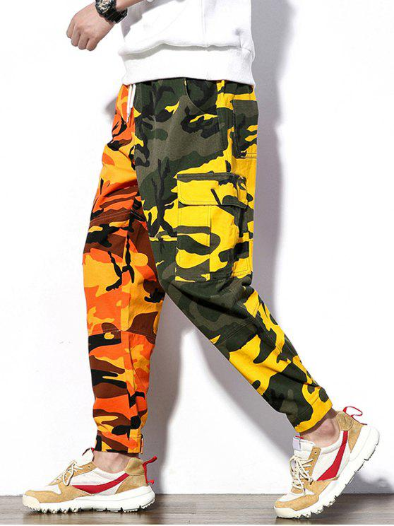 chic Contrast Color Camo Pattern Cargo Pants - ACU CAMOUFLAGE S