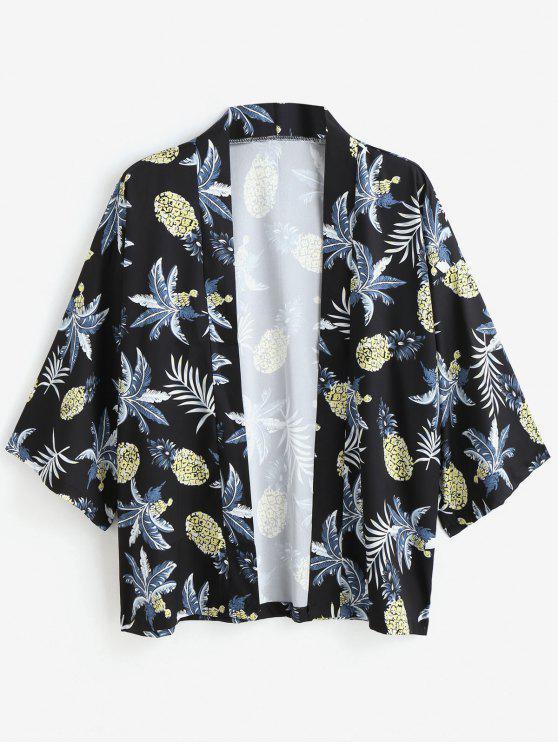 lady Pineapple Print Kimono Jacket - BLACK M