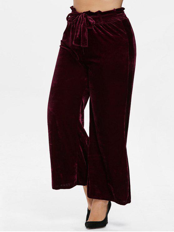 hot Plus Size Wide Leg Velvet Pants - RED WINE 4X