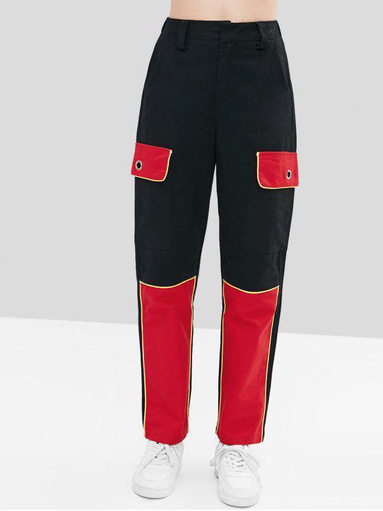 Pantalones de carga de bloque de color - Negro S