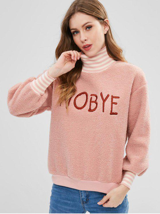women's Fleece Lining Embroidered Fluffy Pullover Sweatshirt - PINK L