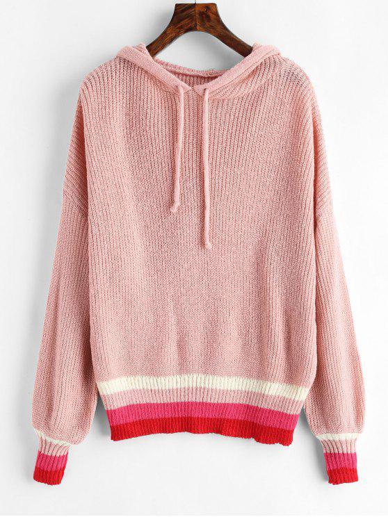 Pullover mit Streifenmuster - Rosa Eine Größe