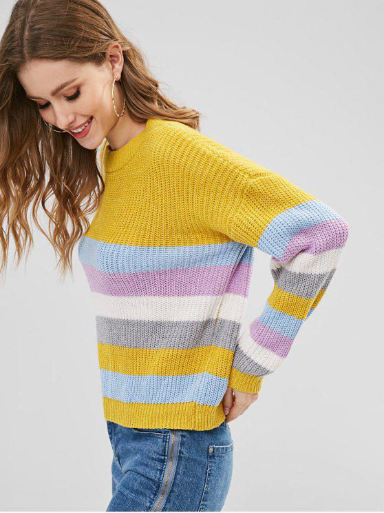 fashion ZAFUL Pullover Colorful Stripes Sweater - MULTI-A ONE SIZE