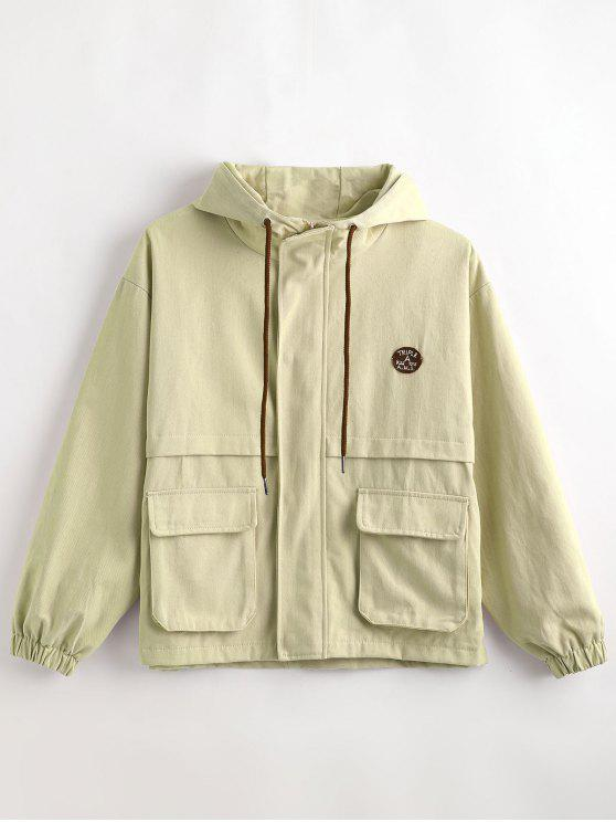buy Hooded Letter Drop Shoulder Jacket - LIGHT KHAKI M