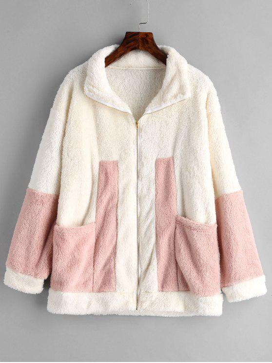 chic Zip Front Contrast Faux Fur Coat - BEIGE XL