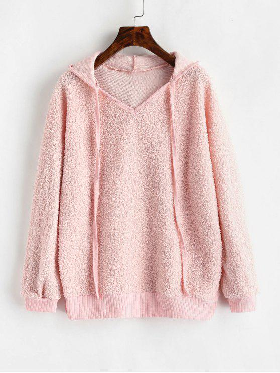outfit Side Slit Fluffy Hoodie - PINK BUBBLEGUM L