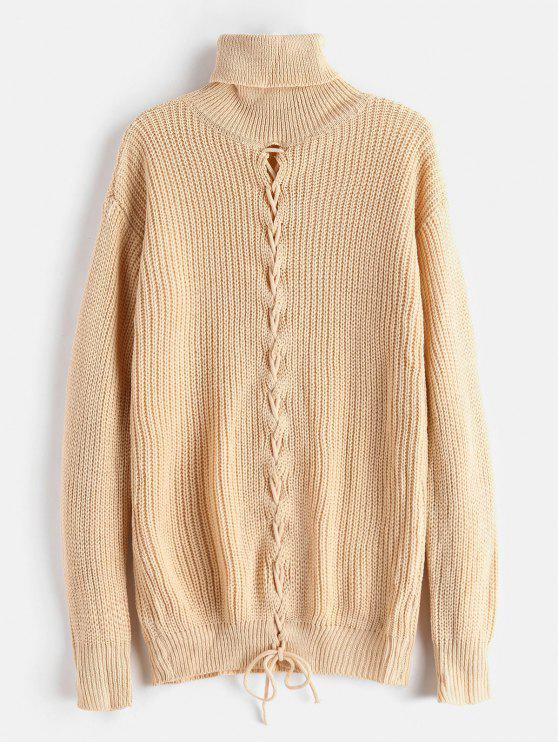womens Lace-up Turtleneck Tunic Sweater - APRICOT ONE SIZE