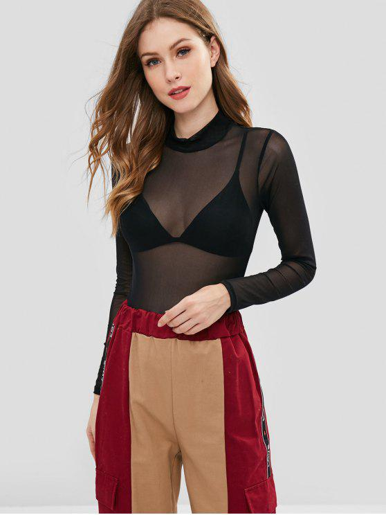 chic ZAFUL Slim Fit See Through Top - BLACK ONE SIZE