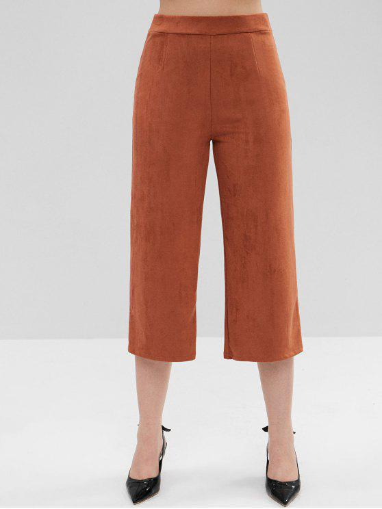 womens ZAFUL Faux Suede Wide Leg Pants - BROWN L