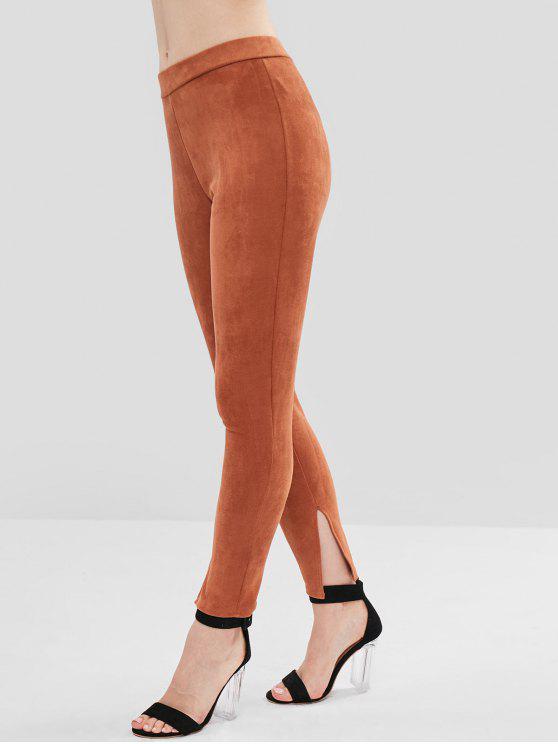 ladies ZAFUL Slit Faux Suede Pants - BROWN L