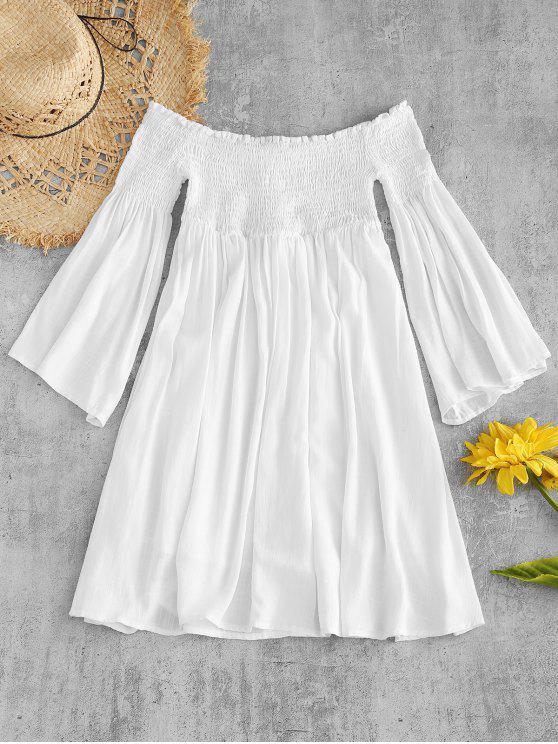 ZaFul Smocked fora do ombro Mini vestido - Branco M