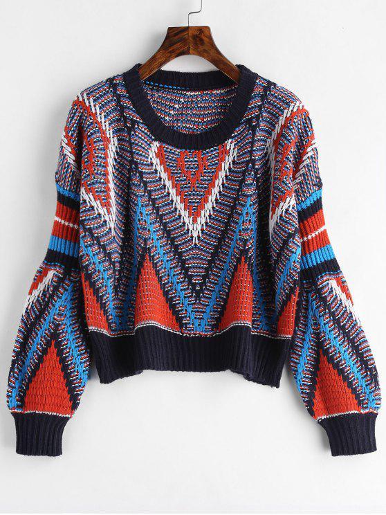 chic Geometric Graphic Crop Sweater - MULTI ONE SIZE