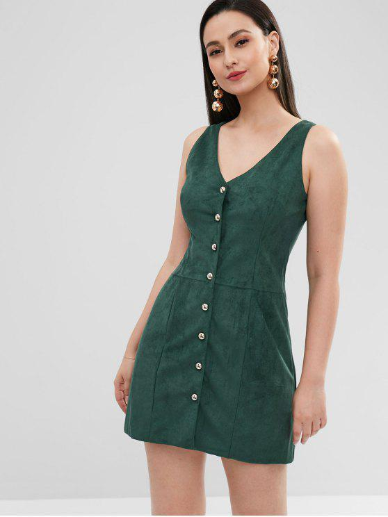 new ZAFUL Button Up Faux Suede Mini Dress - DEEP GREEN S