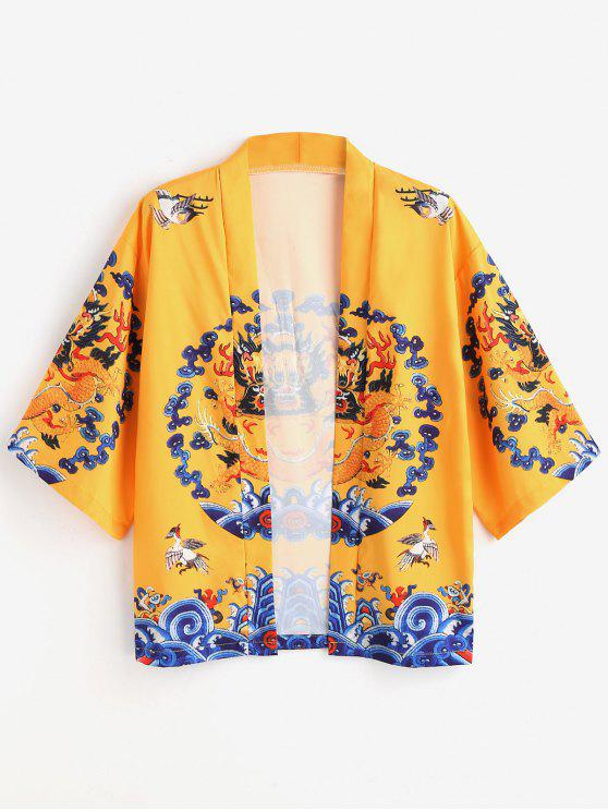 buy Dragon Print Kimono Cardigan - YELLOW XL