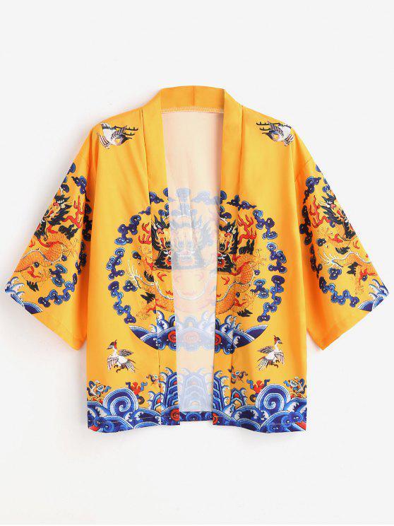 Cardigan de Kimono de impressão de dragão - Amarelo 2XL