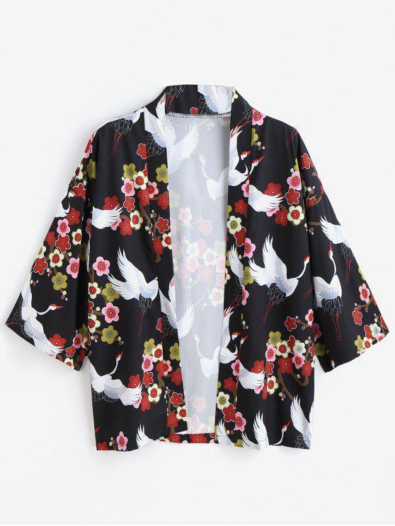 women Flower Crane Kimono Style Cardigan - BLACK L