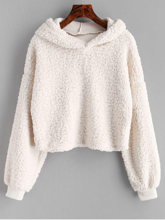shop Loose Fit Faux Fur Hoodie - BEIGE M