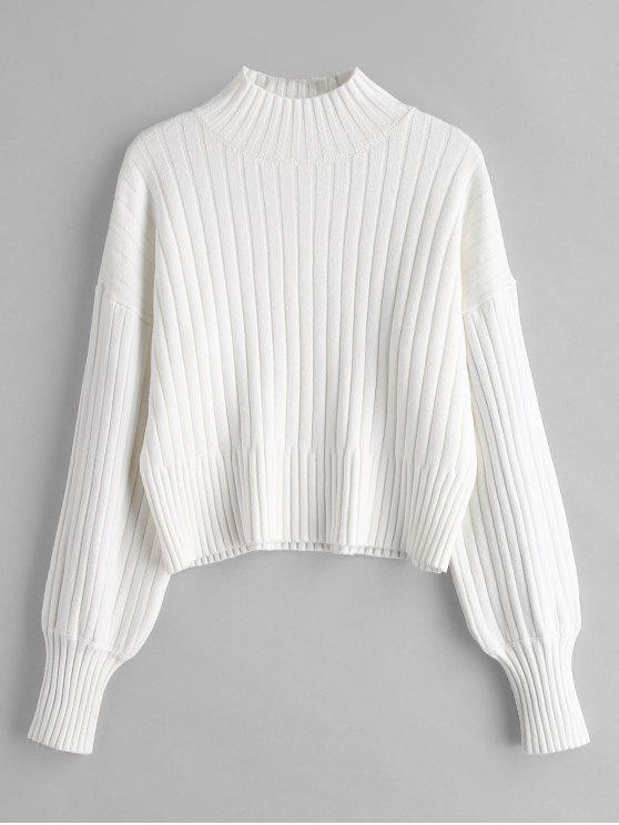 chic Dropped Shoulder Mock Neck Sweater - WHITE ONE SIZE
