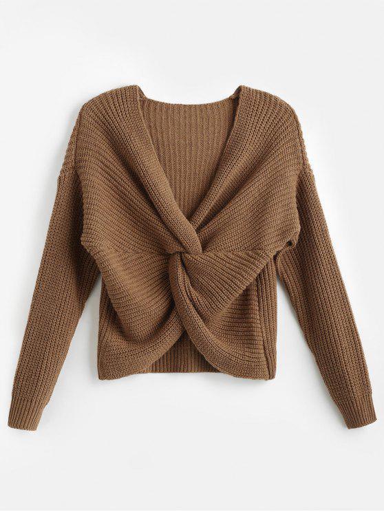 ladies Surplice Twist Front Drop Shoulder Sweater - DARK KHAKI ONE SIZE