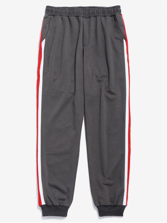 Pantalones Jogger con rayas laterales en contraste - Jet Gris L