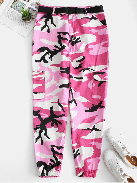Pantaloni Da Jogging Di Camo Con Cintura E Tasca - Rosa L