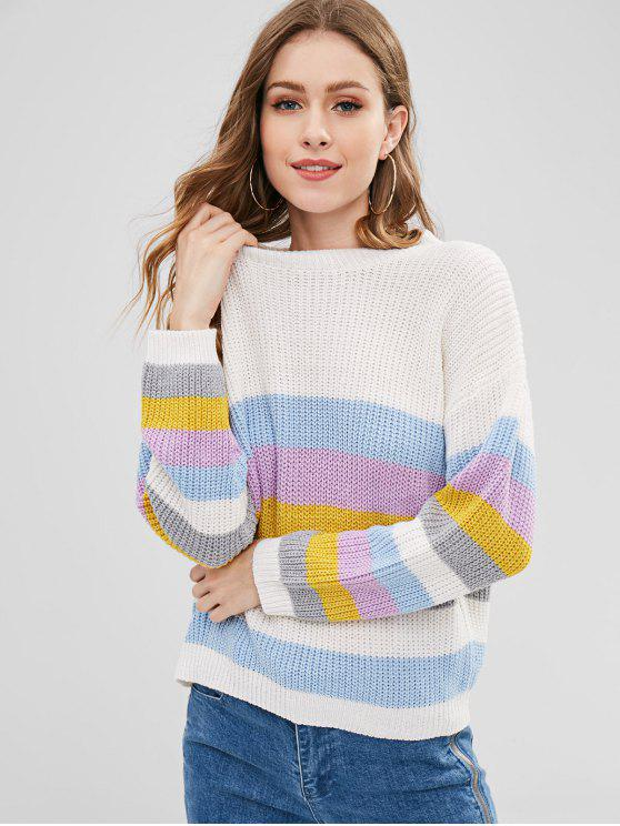 outfit ZAFUL Pullover Colorful Stripes Sweater - MULTI-B ONE SIZE