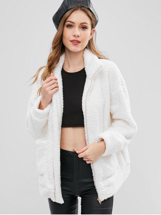 shop Zip Up Fluffy Faux Fur Winter Coat - WHITE L