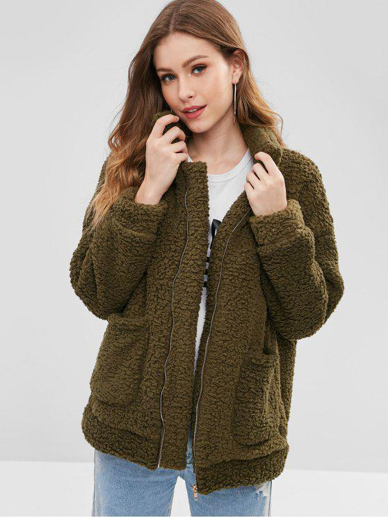 hot Zip Up Fluffy Faux Fur Winter Coat - ARMY GREEN M