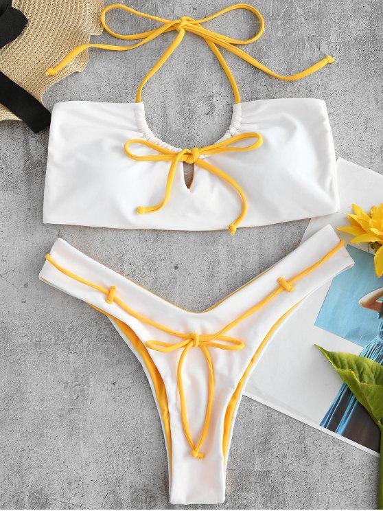 ZAFUL  Hochgeschnittenes  Schlüsselloch-Halfter -Bikini- Set - Weiß S