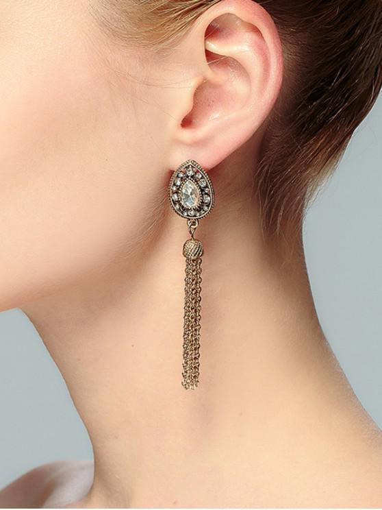 Teardrop Forma Tassel Rhinestone Drop Earrings - Ouro