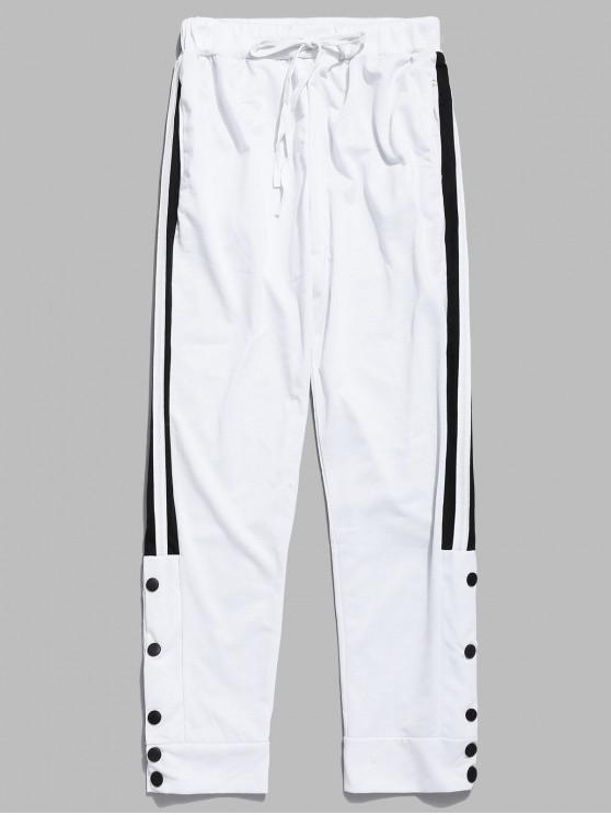 hot Snap Buttons Striped Jogger Pants - WHITE XS