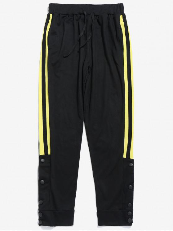 trendy Snap Buttons Striped Jogger Pants - YELLOW M