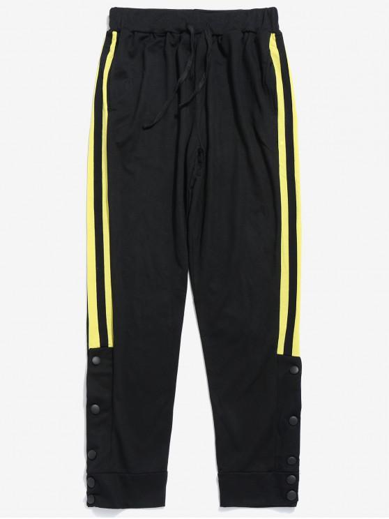 Pantalon de Jogging Rayé avec Bouton Pression - Jaune L