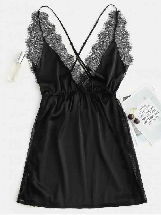 Vestido de chelise de encaje de raso lateral - Negro L