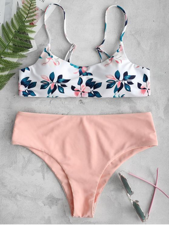 womens ZAFUL Leaf Print Bikini Set - ORANGE PINK L