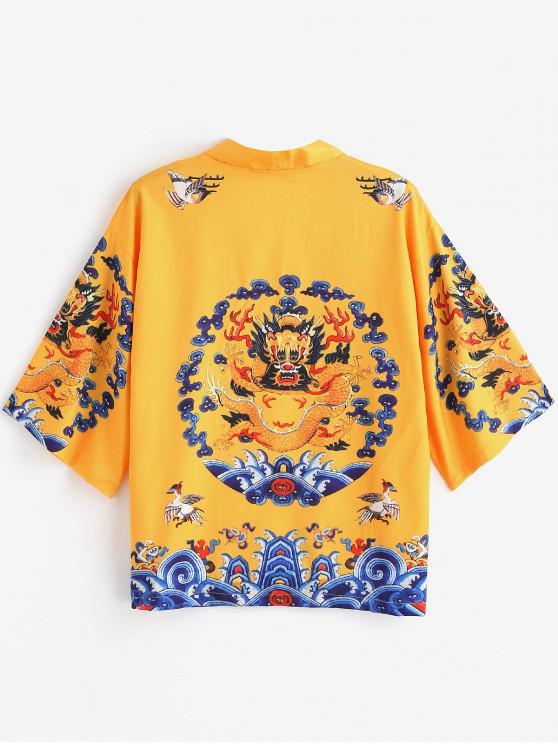 Cárdigan estilo kimono con estampado de dragones - Amarillo 2XL